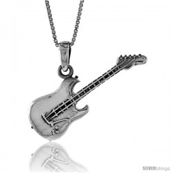 Sterling Silver Guitar Pendant, 1 1/2 in