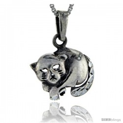 Sterling Silver Cat Pendant, 1 in tall -Style Pa125
