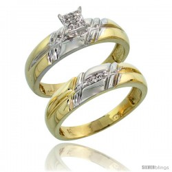 10k Yellow Gold Diamond Engagement Rings Set 2-Piece 0.08 cttw Brilliant Cut, 7/32 in wide