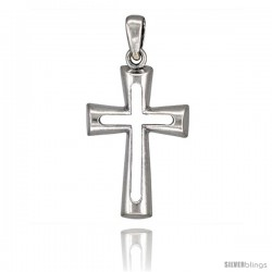Sterling Silver Cross Cut-out Pendant, 1 1/2 in tall
