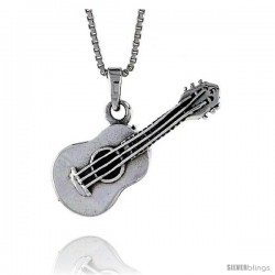 Sterling Silver Guitar Pendant, 1 1/4 in