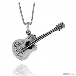 Sterling Silver Guitar Pendant, 1 1/2 in -Style Pa1327