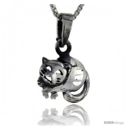 Sterling Silver Cat Pendant, 3/4 in tall -Style Pa126
