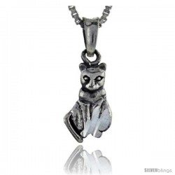 Sterling Silver Cat Pendant, 3/4 in tall -Style Pa123