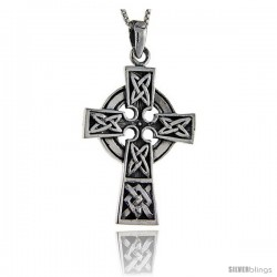 Sterling Silver Celtic Cross Pendant, 1 5/8 in tall