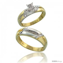 10k Yellow Gold Diamond Engagement Rings 2-Piece Set for Men and Women 0.10 cttw Brilliant Cut, 5.5mm & 6mm wide