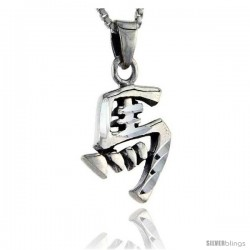 Sterling Silver Chinese Character for MA Family Name Charm, 1 in tall