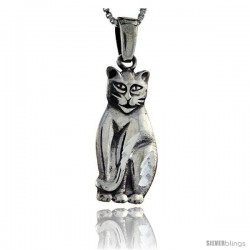 Sterling Silver Cat Pendant, 1 1/2 in tall -Style Pa120