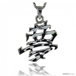 Sterling Silver Chinese Character for DREAM Pendant, 1 1/4 in tall