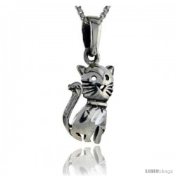Sterling Silver Cat Pendant, 1 in tall
