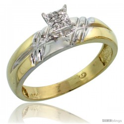 10k Yellow Gold Diamond Engagement Ring 0.06 cttw Brilliant Cut, 7/32 in wide