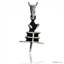 Sterling Silver Chinese Character for the Year of the GOAT Horoscope Charm, 1 1/4 in tall