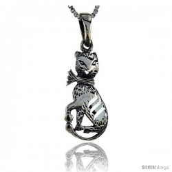 Sterling Silver Cat Pendant, 1 1/4 in tall -Style Pa118