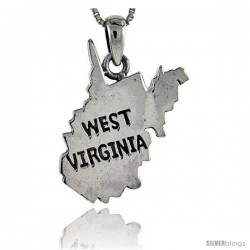 Sterling Silver West Virginia State Map Pendant, 1 1/8 in tall