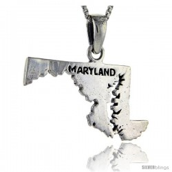 Sterling Silver Maryland State Map Pendant, 1 in tall