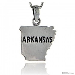 Sterling Silver Arkansas State Map Pendant, 1 1/8 in tall