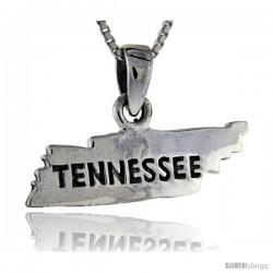 Sterling Silver Tennessee State Map Pendant, 5/8 in tall