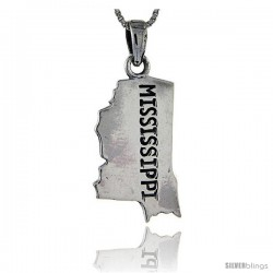 Sterling Silver Mississippi State Map Pendant, 1 3/8 in tall