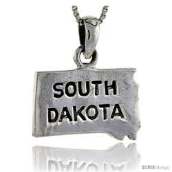 Sterling Silver South Dakota State Map Pendant, 1 in tall