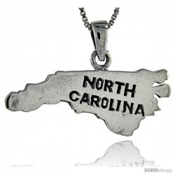 Sterling Silver North Carolina State Map Pendant, 1 in tall
