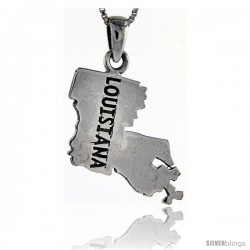 Sterling Silver Louisiana State Map Pendant, 1 1/8 in tall
