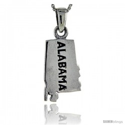 Sterling Silver Alabama State Map Pendant, 1 1/16 in tall