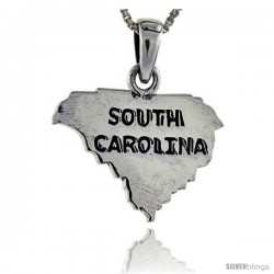 Sterling Silver South Carolina State Map Pendant, 1 in tall