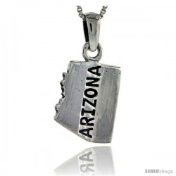 Sterling Silver Arizona State Map Pendant, 1 in tall