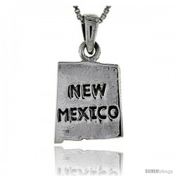 Sterling Silver New Mexico State Map Pendant, 1 in tall