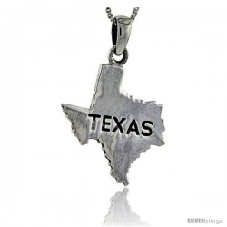 Sterling Silver Texas State Map Pendant, 1 1/4 in tall