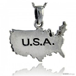 Sterling Silver USA Map Pendant, 1 in tall