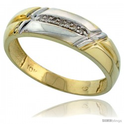 10k Yellow Gold Mens Diamond Wedding Band Ring 0.04 cttw Brilliant Cut, 1/4 in wide -Style 10y005mb