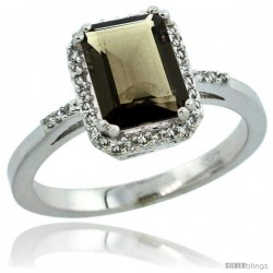 14k White Gold Diamond Smoky Topaz Ring 1.6 ct Emerald Shape 8x6 mm, 1/2 in wide -Style Cw407129