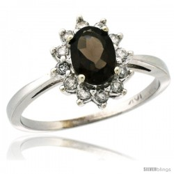 14k White Gold Diamond Halo Smoky Topaz Ring 0.85 ct Oval Stone 7x5 mm, 1/2 in wide