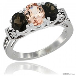 14K White Gold Natural Morganite & Smoky Topaz Ring 3-Stone Oval with Diamond Accent