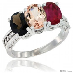 14K White Gold Natural Smoky Topaz, Morganite & Ruby Ring 3-Stone 7x5 mm Oval Diamond Accent