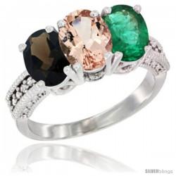 14K White Gold Natural Smoky Topaz, Morganite & Emerald Ring 3-Stone 7x5 mm Oval Diamond Accent