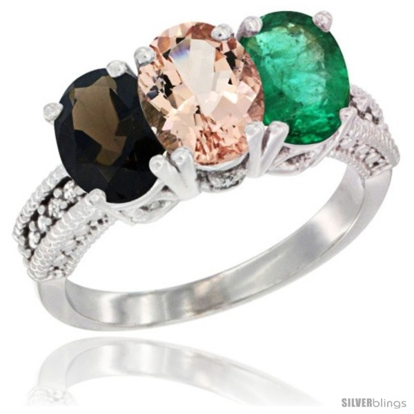 https://www.silverblings.com/61701-thickbox_default/14k-white-gold-natural-smoky-topaz-morganite-emerald-ring-3-stone-7x5-mm-oval-diamond-accent.jpg