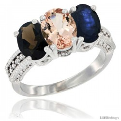 14K White Gold Natural Smoky Topaz, Morganite & Blue Sapphire Ring 3-Stone 7x5 mm Oval Diamond Accent