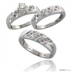 Sterling Silver 3-Piece Trio His (6mm) & Hers (5mm) Diamond Wedding Band Set, w/ 0.15 Carat Brilliant Cut Diamonds