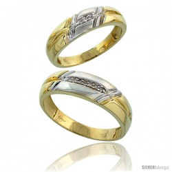 10k Yellow Gold Diamond Wedding Rings 2-Piece set for him 6 mm & Her 5.5 mm 0.06 cttw Brilliant Cut