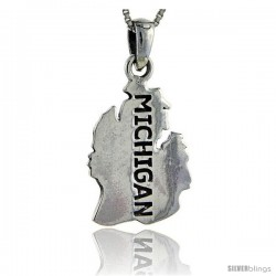Sterling Silver Michigan State Map Pendant, 1 1/4 in tall