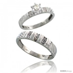 Sterling Silver 2-Piece Diamond Ring Set ( Engagement Ring & Man's Wedding Band ), w/ 0.11 Carat Brilli -Style Ag117em
