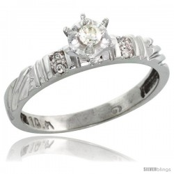 Sterling Silver Diamond Engagement Ring, w/ 0.06 Carat Brilliant Cut Diamonds, 1/8in. (3.5mm) wide -Style Ag117er