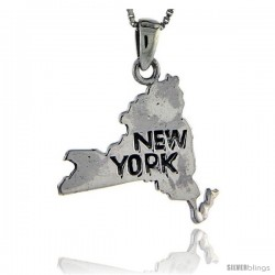 Sterling Silver New York State Map Pendant, 1 1/4 in tall
