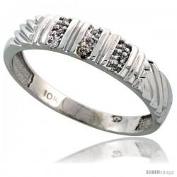 Sterling Silver Men's Diamond Band, w/ 0.05 Carat Brilliant Cut Diamonds, 3/16 in. (5mm) wide