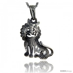 Sterling Silver Lion Pendant, 1 1/4 in tall -Style Pa117