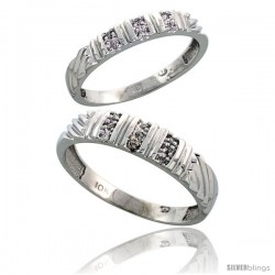 Sterling Silver 2-Piece His (5mm) & Hers (3.5mm) Diamond Wedding Band Set, w/ 0.08 Carat Brilliant Cut Diamonds
