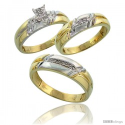 10k Yellow Gold Diamond Trio Engagement Wedding Ring 3-piece Set for Him & Her 6 mm & 5.5 mm wide 0.12 cttw Brilliant Cut