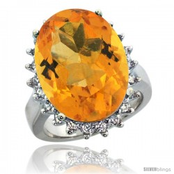 10k White Gold Diamond Halo Citrine Ring 10 ct Large Oval Stone 18x13 mm, 7/8 in wide